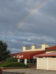 Rainbow over La Casa Cafe on Crab Meadow Beach in Fort Solonga, Long Island, New York
