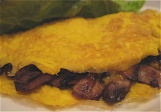 Mushroom (and cheese) omelette - a simple, tasty supper!