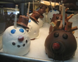 Chocolate-covered apples decorated for the season at the Rocky Mountain Chocolate Factory