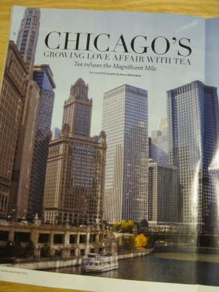 Article in Tea Time magazine highlighting tea rooms and cafes in Chicago